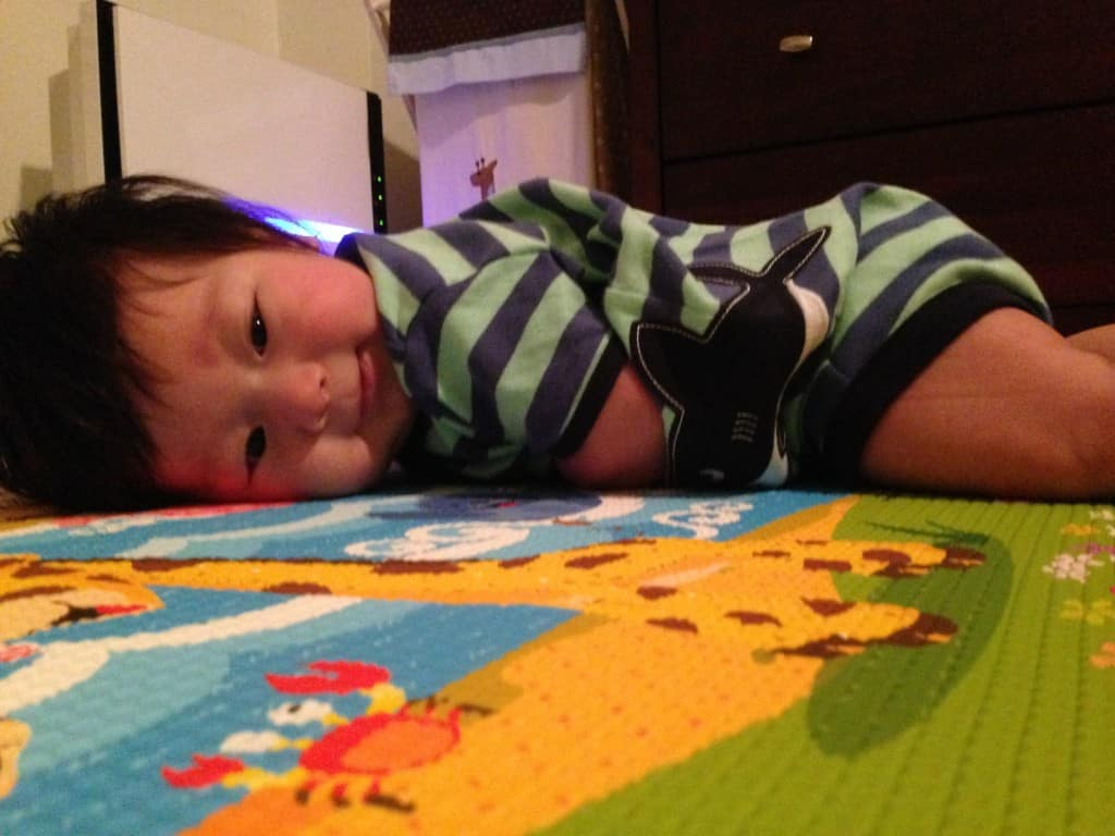 Max loving the Baby Care Play Mat Pingko Friends